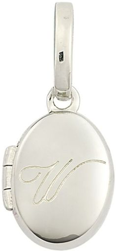 "Zales Personality Charms Cursive ""W"" Initial Oval Locket Charm in Sterling Silver"