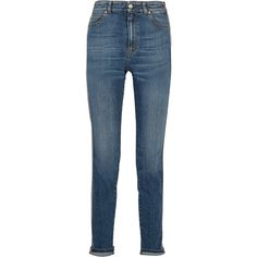 Alexander McQueen Striped high-rise skinny jeans ($745) ❤ liked on Polyvore featuring jeans, pants, mid denim, skinny fit jeans, striped skinny jeans, stitch's jeans, high waisted blue skinny jeans and button-fly jeans