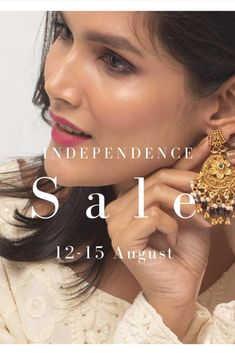 Choose your jewelry. Add it to cart. And that's it - your jewelry would be at 15% off, automatically. The biggest Independence Day Indian jewelry sale is now live! Indian Jewellery Online, Indian Jewelry Sets, Jewelry Shop, Jewelry Stores, Temple Jewellery, Raw Gemstones, Summer Jewelry, Summer Garden, Bridal Sets