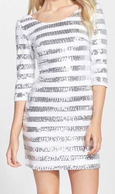 Clove  Sequin Shift Dress (Regular & Petite) #dress #sparkle #stripes #clothing Stripes Clothing, Doll Patterns, Nordstrom Rack, Dressing, Sparkle, Sequins, Ivory, Elegant, Colors