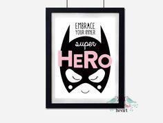 Wall Decor for Girls: Confidence Boosting Superhero Art Prints Batman Room, Superhero Room, Batman Superhero, Big Girl Bedrooms, Girls Bedroom, Bedroom Ideas, Home Decor Mirrors, Wall Decor, Wall Art
