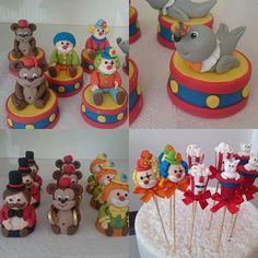 Tambores de pão de mel, trufas modeladas e brigadeiros no palito para festa circo. #benditosbrigadeiros ...