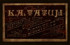 Restorations & Typographic Discoveries- Trade Card by Keith Tatum