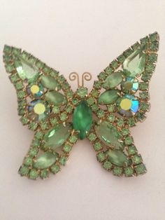 Juliana D&E A.B Rhinestone Butterfly Brooch In Shades of Green #JulianaDE