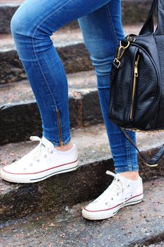 alexander wang bag + converse + skinnies