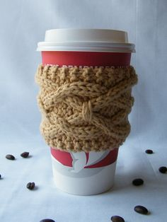VIVIAN-figure out how to crochet this and sell them!!!  PATTERN - Knitted Coffee Cup Sleeve Pattern, Tea Cup Cozy Pattern, His & Hers Cup Cozy Pattern, Cup Cozy Pattern, Cabled Knitting Pattern. $3.50, via Etsy.