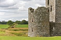 Threave Castle ruins surrounded by pastures in Scotland, United Kindom