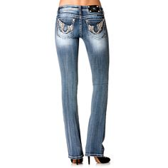 Miss Me Women's Horseshoe and Wing Boot Cut Jeans