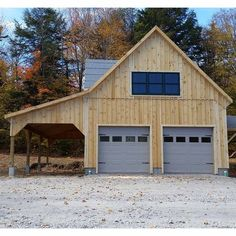 If you believe you are limited due to access issues on your property, take a look at The Carriage Sheds Prefab Garages. Pole Barn Garage, Pole Barn House Plans, Garage Shed, Barn Plans, Detached Garage, Boat Garage, Garage Kits, Two Car Garage, Pole Barns