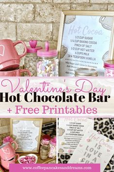 DIY Valentine's hot chocolate bar with inexpensive Valentine's decorations. Two Free Valentine's Day printable Hot Cocoa Bar Signs Hot Chocolate Gifts, Hot Chocolate Bars, Chocolate Art, Chocolate Covered, Homemade Food Gifts, Diy Food Gifts, Candy Gifts, Jar Gifts, Gift Jars