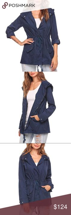Zip Waisted Utility Jacket A dark blue utility jacket with buttons and drawstrings. Features a hood and a waist tie inside the jacket adjust to adjust the waist line and creates a beautiful silhouette.   ❌ Sorry, no trades  fairlygirly Jackets & Coats Utility Jackets