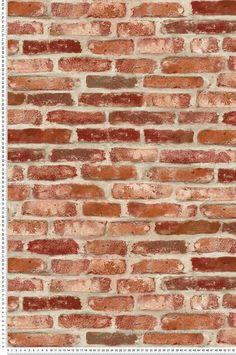 Red Brick Wallpaper - Wall by Lutèce Red Brick Wallpaper, Natur Wallpaper, Wall Wallpaper, Wall Stencil Patterns, Brick Texture, Granite Flooring, Ship Lap Walls, Red Bricks, 3d Wall