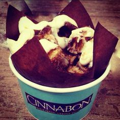 Get up close and personal with a cinnamon bun #Cinnabon @ShopCrabtree