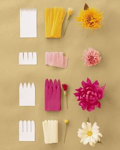 Easy flowers using crepe paper. I'm loving that daisy! #flowers