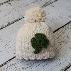 Knit St. Patrick's Day hat with shamrock by tinab76 on Etsy, $18.00
