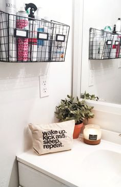 Try This: Wire Basket Storage easy bathroom organization from MichaelsMakers The Clueless Girl