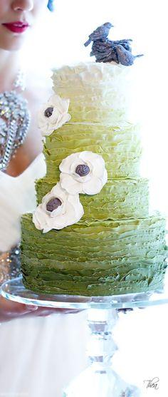 Wedding ● Cake ● ❝Cypress❞ Autumn Pantone 2014. Would look nice in blue tones