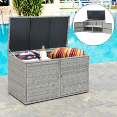 Looking for a storage box for your outdoor space, So never compromise your style when looking for form and function in your outdoor living space. Pool Storage Box, Outdoor Storage Boxes, Patio Storage, Storage Boxes With Lids, Storage Containers, Storage Spaces, Rattan, Wicker, Lawn Furniture