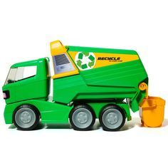 Your little one will love pretend play time with fun toys like this Molto Garbage Truck. With real working parts and an included trash can accessory, you can load the can into the back just like a real garbage truck, using the rear hooks. Garbage Truck, Garbage Can, Thing 1, Toy Trucks, Surf Shop, Baby Clothes Shops, Clean Up, Cool Toys, Diecast