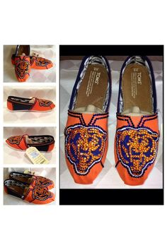 Chicago Bears womans shoes custom bling Toms by Blingshoeshop, $130.00