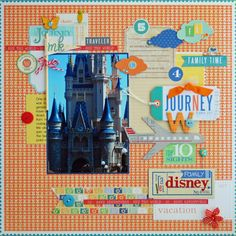 Magic Kingdom Chan Chan Davis-Reid Yellow Bicycle Incorporated using The Escape Vacation Scrapbook, Disney Scrapbook Pages, Scrapbooking Layouts, Little Yellow Bicycle, Travel Album, Scrapbook Supplies, Disney Style, Magic Kingdom, Paper Crafts