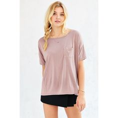 Silence + Noise Freya Pocket Tee ($39) ❤ liked on Polyvore featuring tops, t-shirts, list, mauve, pink tee, pink t shirt, pocket t shirts, pocket tee and pink pocket tee