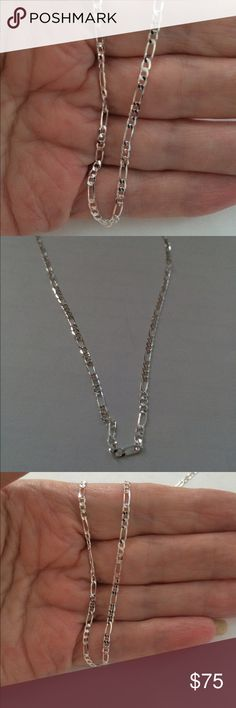 "STERLING SILVER FIGARO Chain Necklace❤️SALE❤️ FIGARO 26"" long Sterling Silver soft chain necklace Jewelry Necklaces"