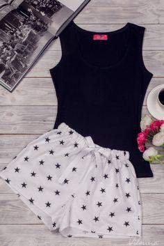 Комплект жіночий для сну та відпочинку • чорна майка табілізчорнимизірочками шорти • інтернет магазин • vilenna.ua Pajama Outfits, Kids Outfits, Casual Outfits, Cute Outfits, Fashion Outfits, Cute Pjs, Cute Pajamas, Pajamas Women, Cute Sleepwear