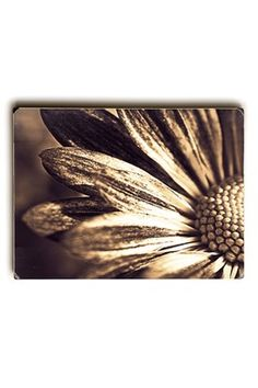 Golden Floral Photo on Wood