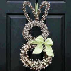 Bunny Wreath - Easter Wreath - Spring Wreath - Choose Bow Co.- Bunny Wreath – Easter Wreath – Spring Wreath – Choose Bow Color – 3 Sizes to choose from - Spring Crafts, Holiday Crafts, Holiday Fun, Festive, Holiday Style, Christmas Holiday, Holiday Decor, Hoppy Easter, Easter Bunny