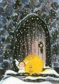 Tiny angel in the snow - illustration by Virpi Pekkala, Finland Something about this makes my heart swell:) Christmas Angels, Christmas Art, Vintage Christmas, Illustration Noel, Christmas Illustration, I Believe In Angels, Guardian Angels, Angel Art, Christmas Pictures