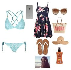 """Day at the beach"" by kaitlynfarrell on Polyvore featuring Ally Fashion, American Eagle Outfitters, STELLA McCARTNEY, Incase, Eugenia Kim, Rip Curl, Hawaiian Tropic, Topshop, women's clothing and women"