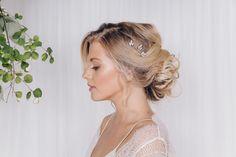 Swarovski crystal wedding hair pin trio in rose gold, silver or gold - Anya - Debbie Carlisle