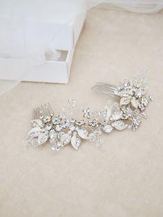 Bridal crystal head piece, flower and leaf hair jewel - Style 227