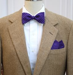 Pocket Square and Bow Tie (self-tie) in royal purple with white pin dots by CCADesign on Etsy