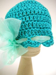 Baby Girl Hat Crocheted Baby Beanie Teal Hat Baby by StitchKnit, $25.00