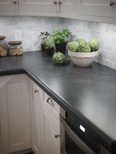 kitchen remodeling countertops Kitchen with Formica® laminate Basalt Slate countertop Click through to get a free sample of Basalt Slate - Countertop Redo, Slate Kitchen, Kitchen Design Countertops, Kitchen Remodel, Diy Kitchen Countertops, New Kitchen, Kitchen, Formica Kitchen Countertops, Kitchen Remodel Countertops