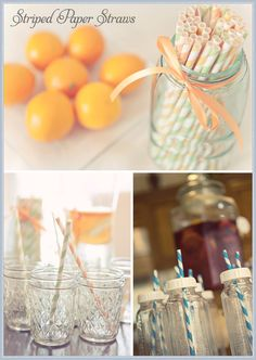 striped paper straws in baby bottles