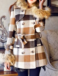 Khaki Grid Women Coat, Overcoat, Windcoat, Make You An Outstanding Woman!
