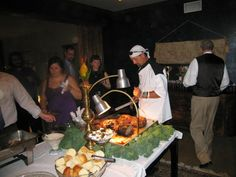 Dinner is served with a chef from Schulenburg, Texas carving the meat at the wedding reception.