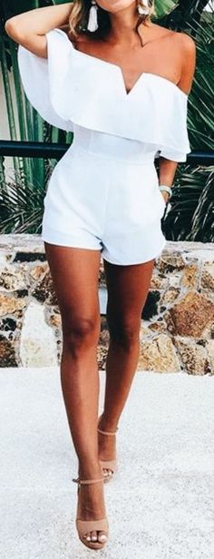 #summer #outfits / off the shoulder playsuit
