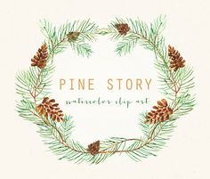 Pine Watercolor clip art hand drawn. Winter by LABFcreations