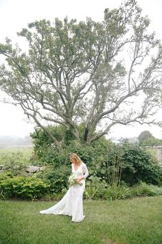 Whitney Weeks and Doug Pickett's Wedding:     Taking a minute before pictures as the mist started to roll in off the ocean. Photo: Lucy Cuneo