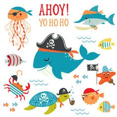 Illustration of Set of cute undersea pirate design elements. vector art, clipart and stock vectors. Deco Pirate, Pirate Kids, Pirate Theme, Free Vector Art, Cute Animal Clipart, Kids Prints, Watercolor Cards, Royalty Free Images, Animales