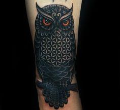 owl-flower-of-life-mens-arm-tattoo.jpg (600×552)