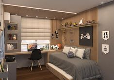 Boys Room Design, Room Design Bedroom, Boys Bedroom Decor, Room Ideas Bedroom, Small Bedroom Office, Home Office Design, Home Interior Design, New Room, House Rooms
