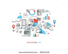 Thin line flat design of business graph statistics, big data analysis, global seo analytics, financial research report, market stats. Modern vector illustration concept, isolated on white background. - stock vector
