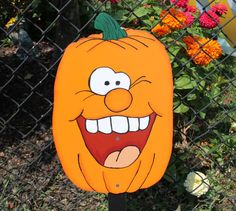 Happy Pumpkin Yard Sign / Decor / Art by WoodentItBeNice on Etsy