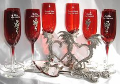 Dragon toasting glasses and cake serving set. It looks really nice in the sapphire blue.