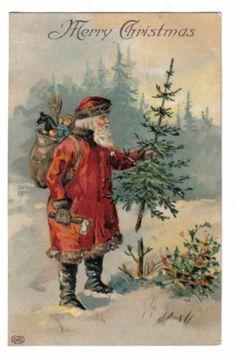 Santa Claus Chopping Down Christmas Tree~Hatchet~Bag of Toys~Horse~EAS~1907+